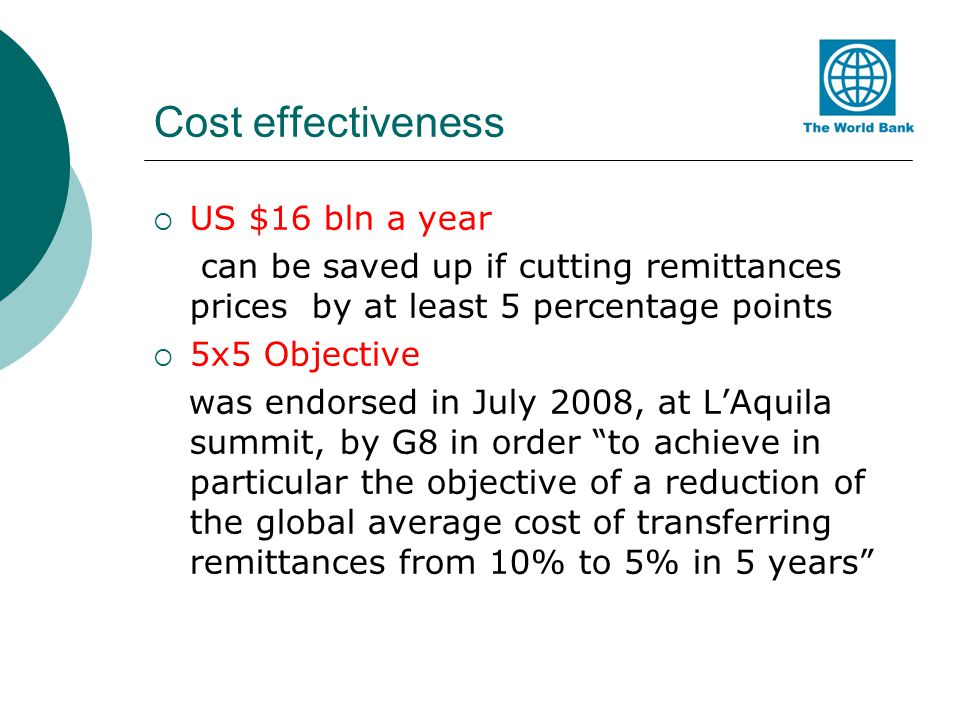 Cost effectiveness US $16 bln a year