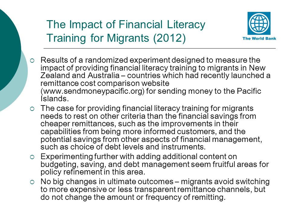 The Impact of Financial Literacy Training for Migrants (2012)