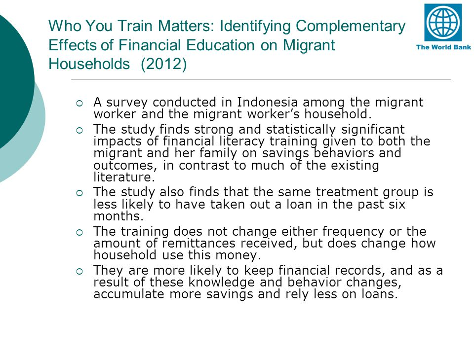 Who You Train Matters: Identifying Complementary Effects of Financial Education on Migrant Households (2012)