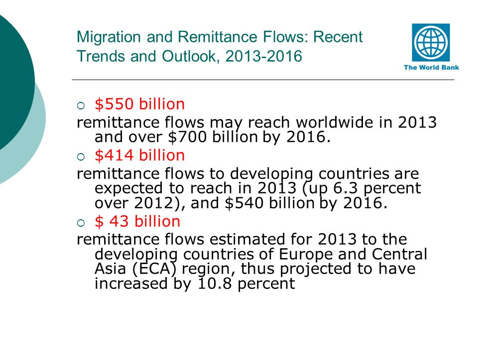 Migration and Remittance Flows: Recent Trends and Outlook,