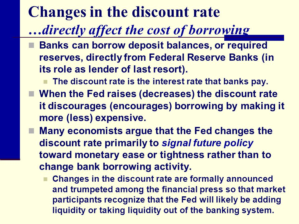 Changes in the discount rate …directly affect the cost of borrowing