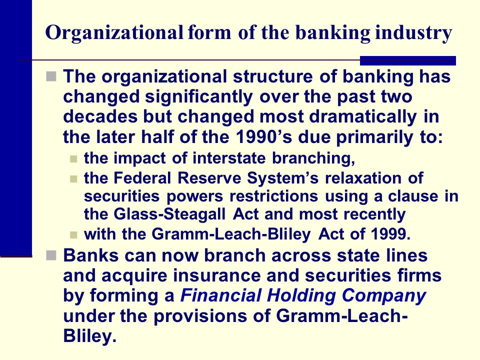 Organizational form of the banking industry