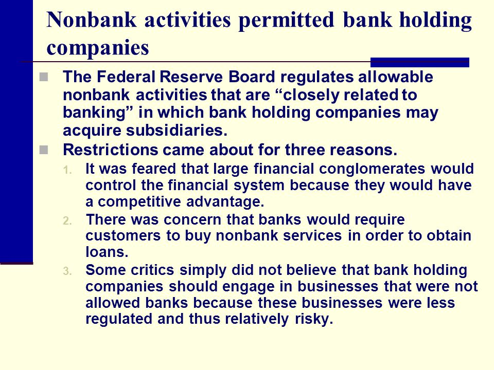 Nonbank activities permitted bank holding companies