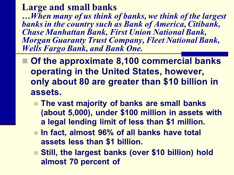 Large and small banks …When many of us think of banks, we think of the largest banks in the country such as Bank of America, Citibank, Chase Manhattan Bank, First Union National Bank, Morgan Guaranty Trust Company, Fleet National Bank, Wells Fargo Bank, and Bank One.