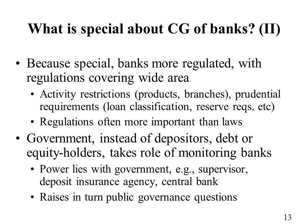 What is special about CG of banks (II)