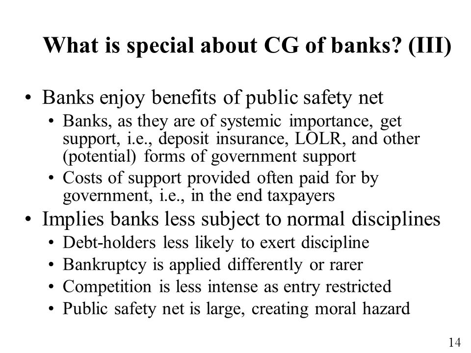 What is special about CG of banks (III)