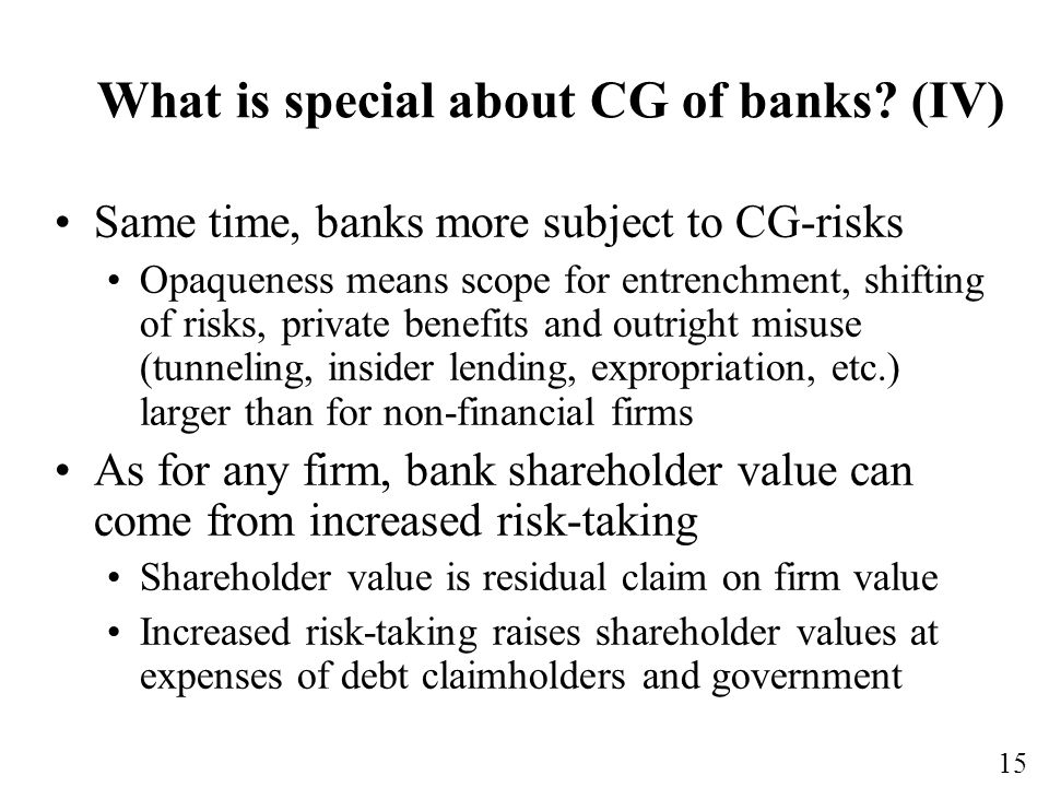 What is special about CG of banks (IV)