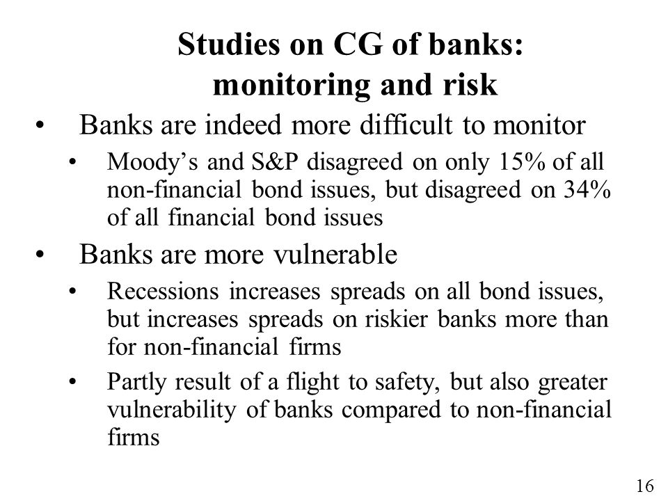 Studies on CG of banks: monitoring and risk