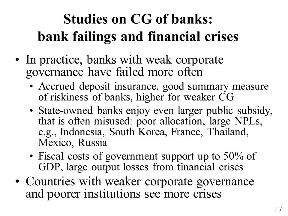 Studies on CG of banks: bank failings and financial crises