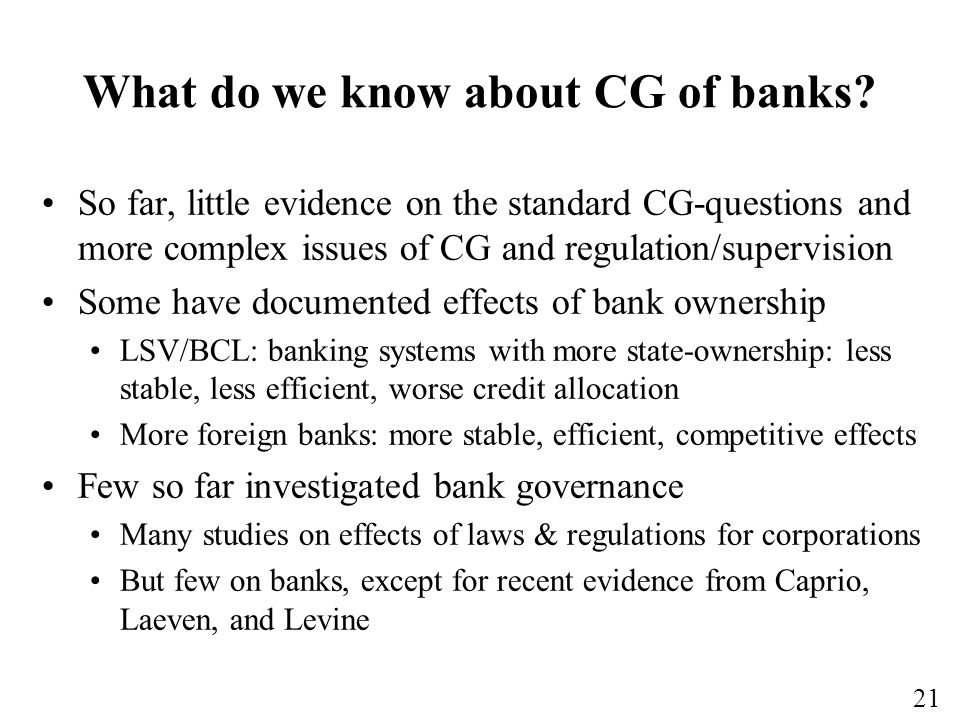 What do we know about CG of banks