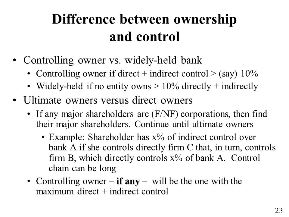 Difference between ownership and control
