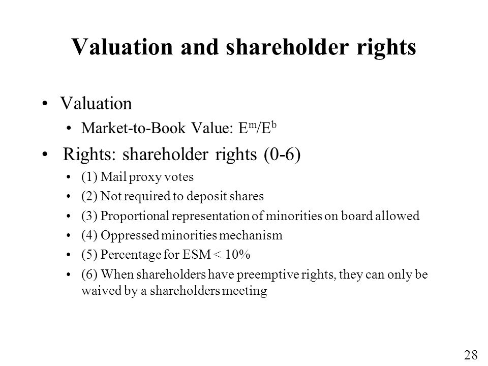 Valuation and shareholder rights
