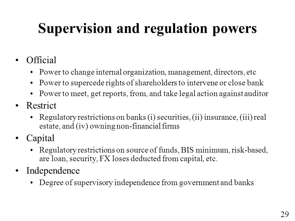 Supervision and regulation powers