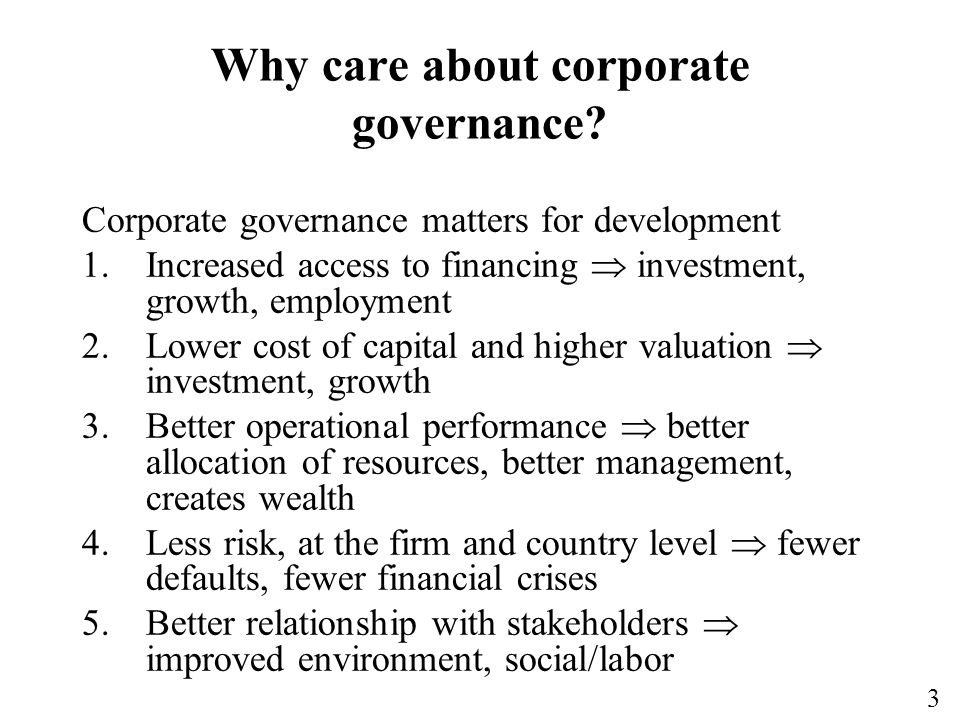 Why care about corporate governance