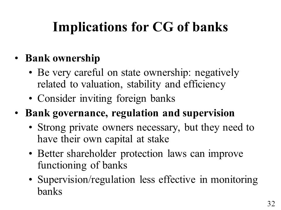 Implications for CG of banks