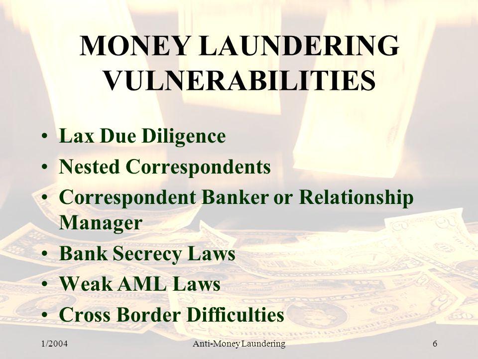 MONEY LAUNDERING VULNERABILITIES
