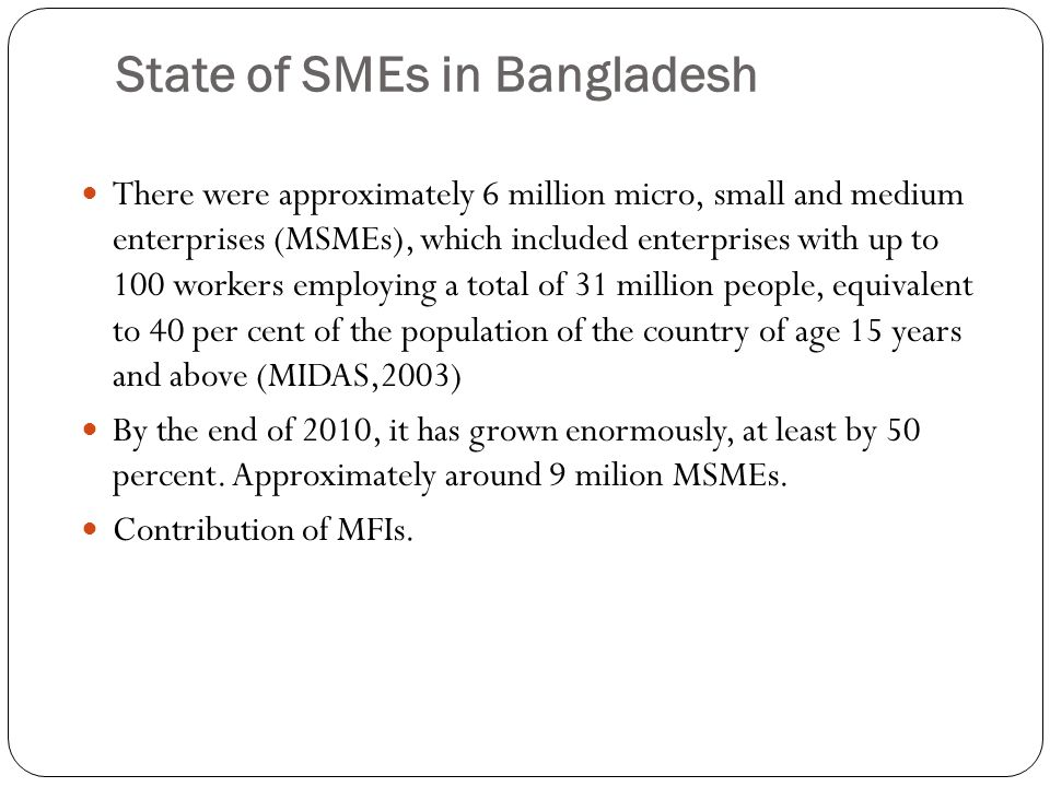 State of SMEs in Bangladesh