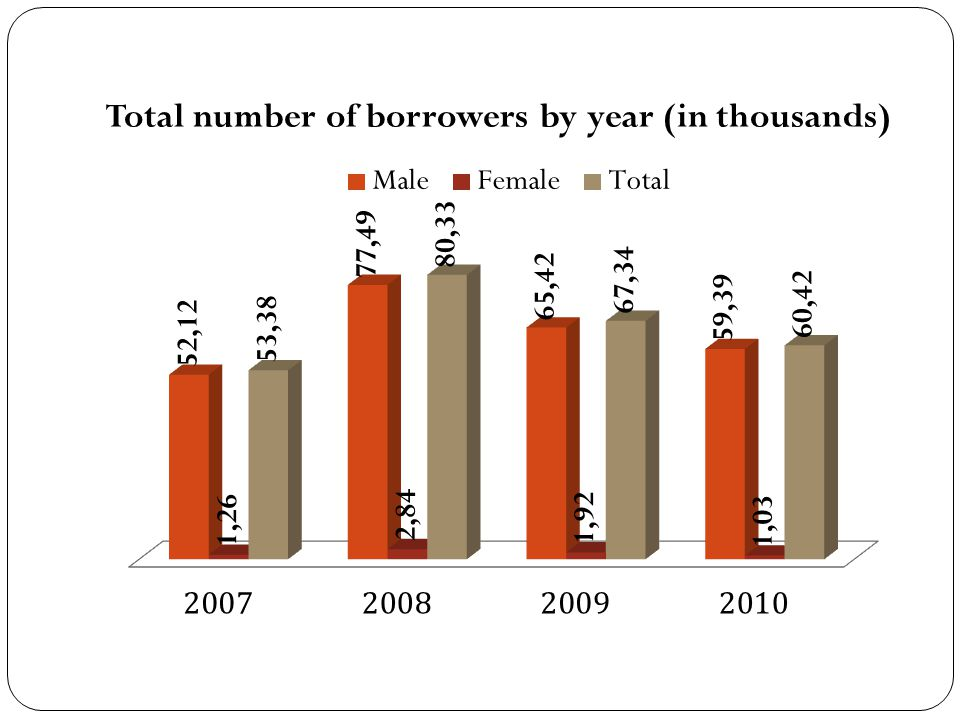 Total number of borrowers by year (in thousands)