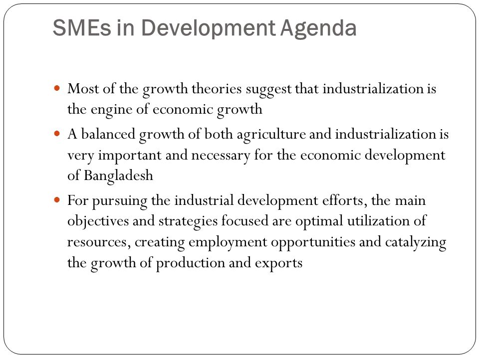 SMEs in Development Agenda