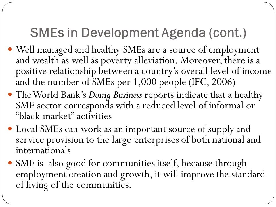 SMEs in Development Agenda (cont.)
