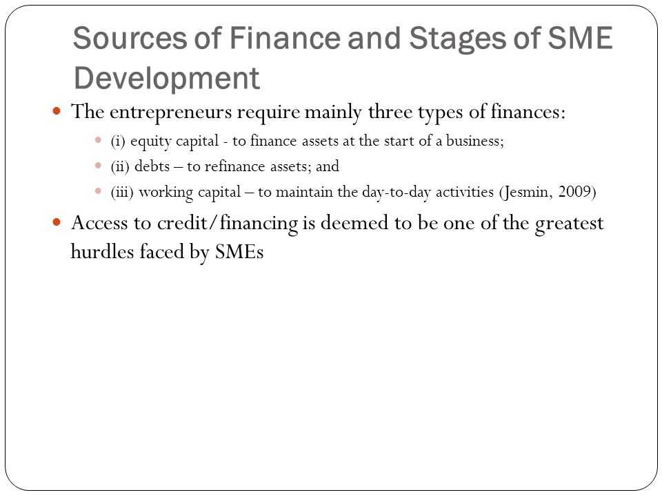 Sources of Finance and Stages of SME Development