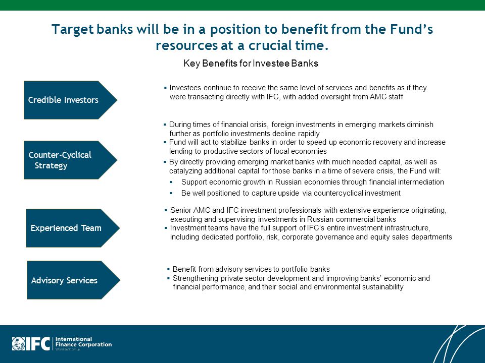 Target banks will be in a position to benefit from the Fund's resources at a crucial time.