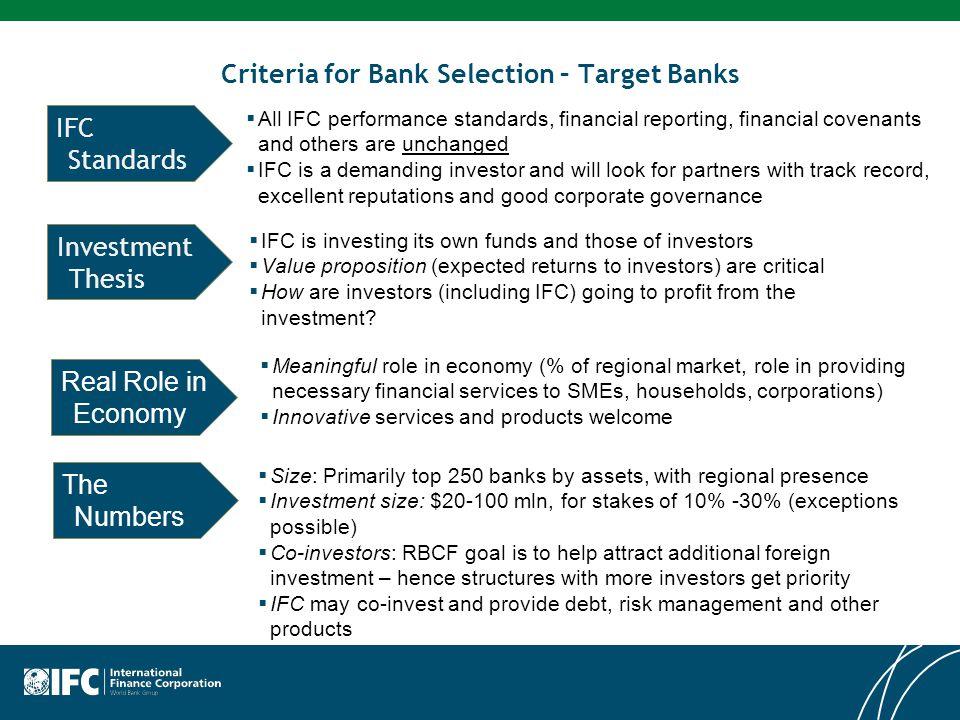 Criteria for Bank Selection – Target Banks