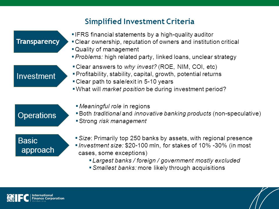 Simplified Investment Criteria