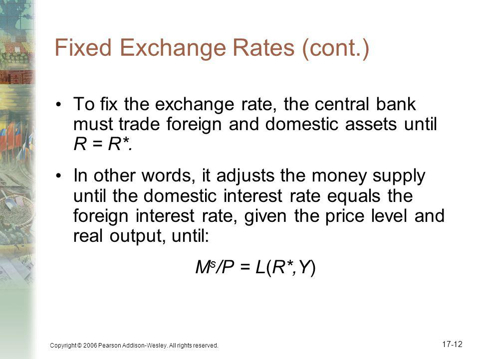 Fixed Exchange Rates (cont.)