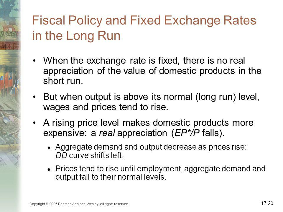 Fiscal Policy and Fixed Exchange Rates in the Long Run