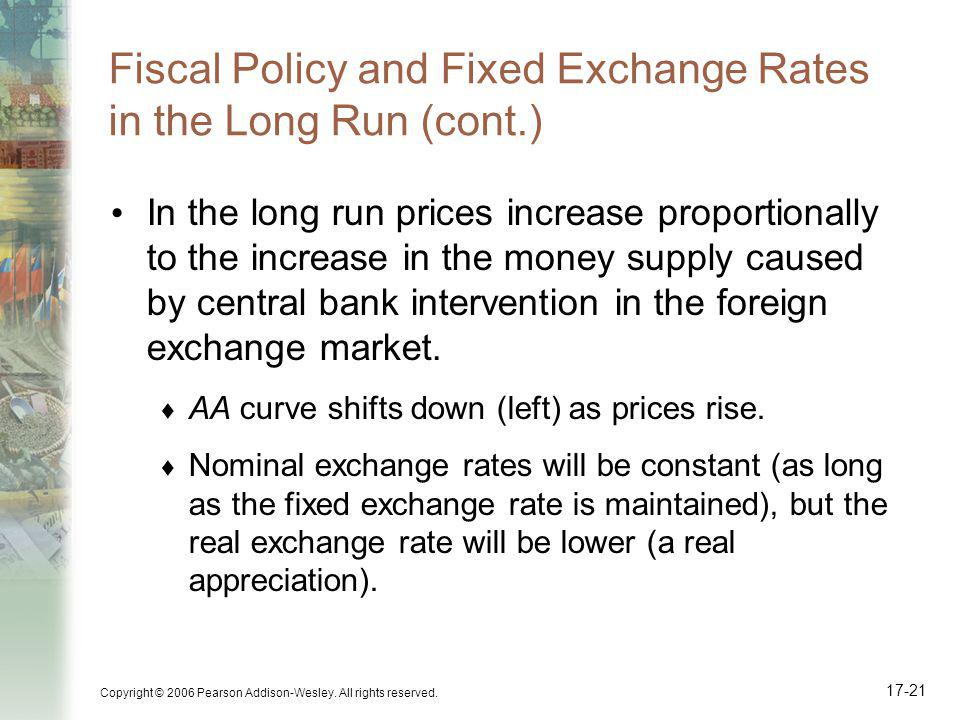 Fiscal Policy and Fixed Exchange Rates in the Long Run (cont.)