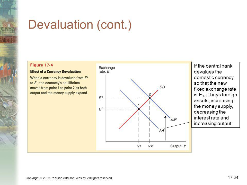 Devaluation (cont.) If the central bank