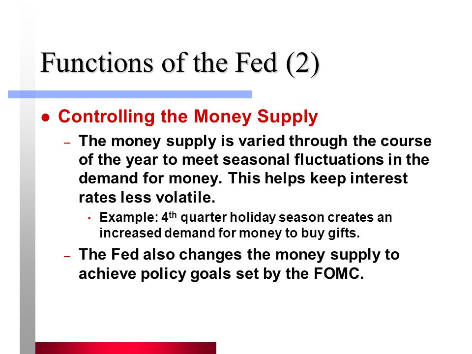 Functions of the Fed (2) Controlling the Money Supply
