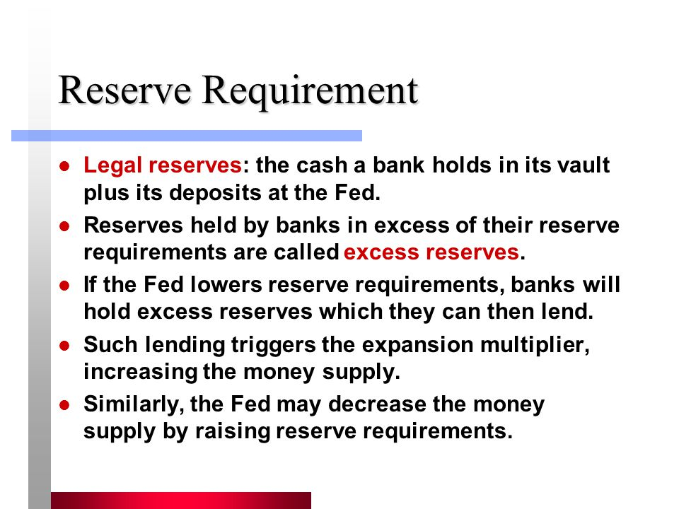 Reserve Requirement Legal reserves: the cash a bank holds in its vault plus its deposits at the Fed.