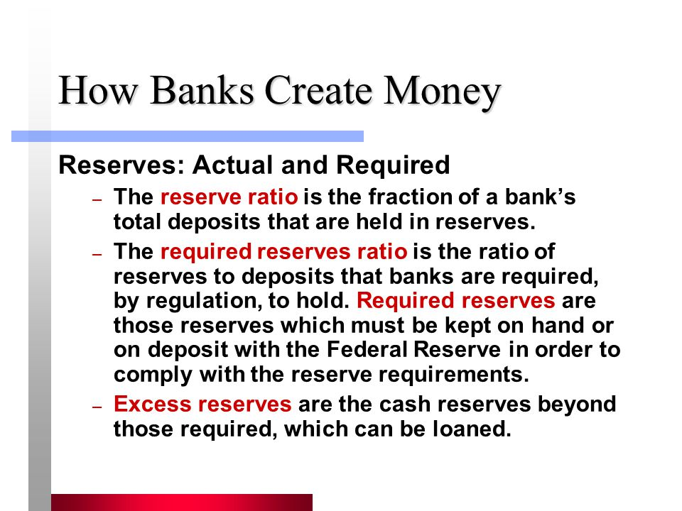 How Banks Create Money Reserves: Actual and Required