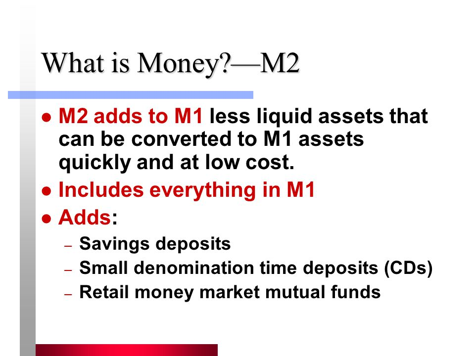 What is Money —M2 M2 adds to M1 less liquid assets that can be converted to M1 assets quickly and at low cost.