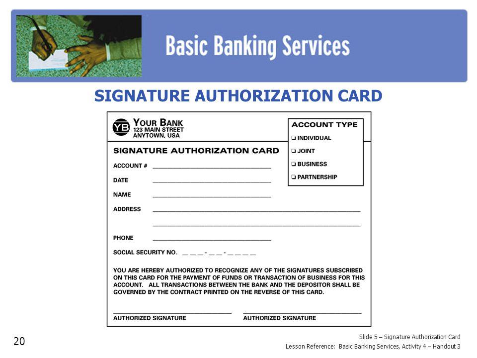 SIGNATURE AUTHORIZATION CARD