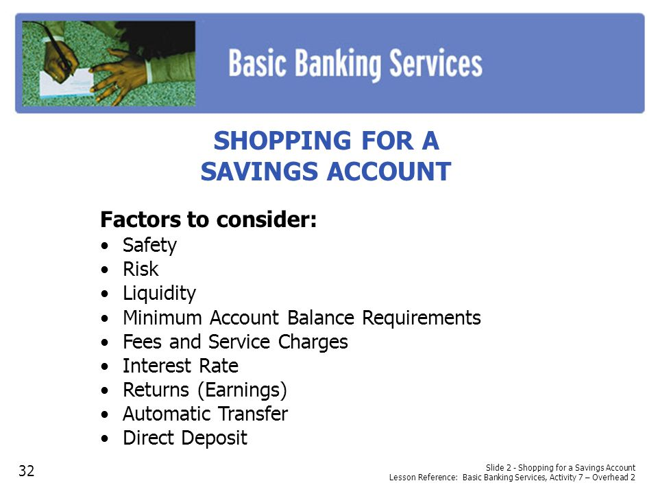 SHOPPING FOR A SAVINGS ACCOUNT