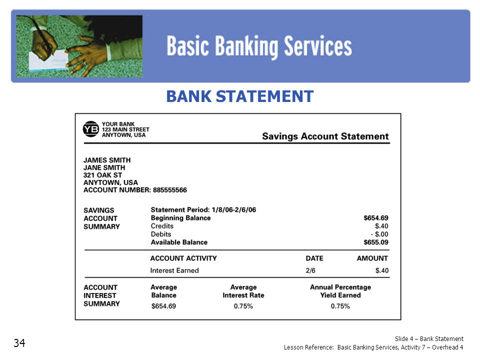 BANK STATEMENT Ask for reasons why balancing a savings account monthly would be. important. • Record the responses.