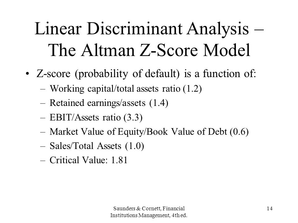 Linear Discriminant Analysis – The Altman Z-Score Model