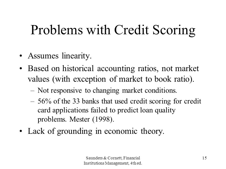 Problems with Credit Scoring