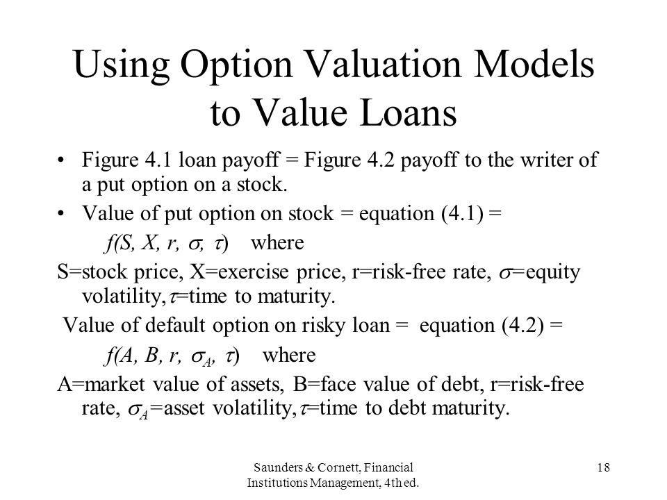 Using Option Valuation Models to Value Loans
