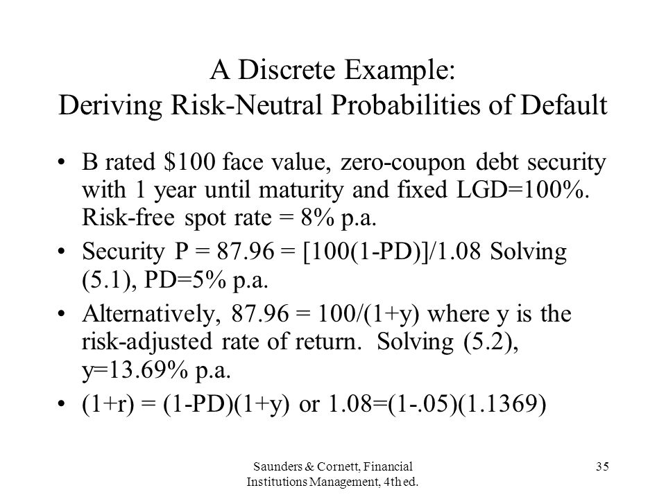 A Discrete Example: Deriving Risk-Neutral Probabilities of Default