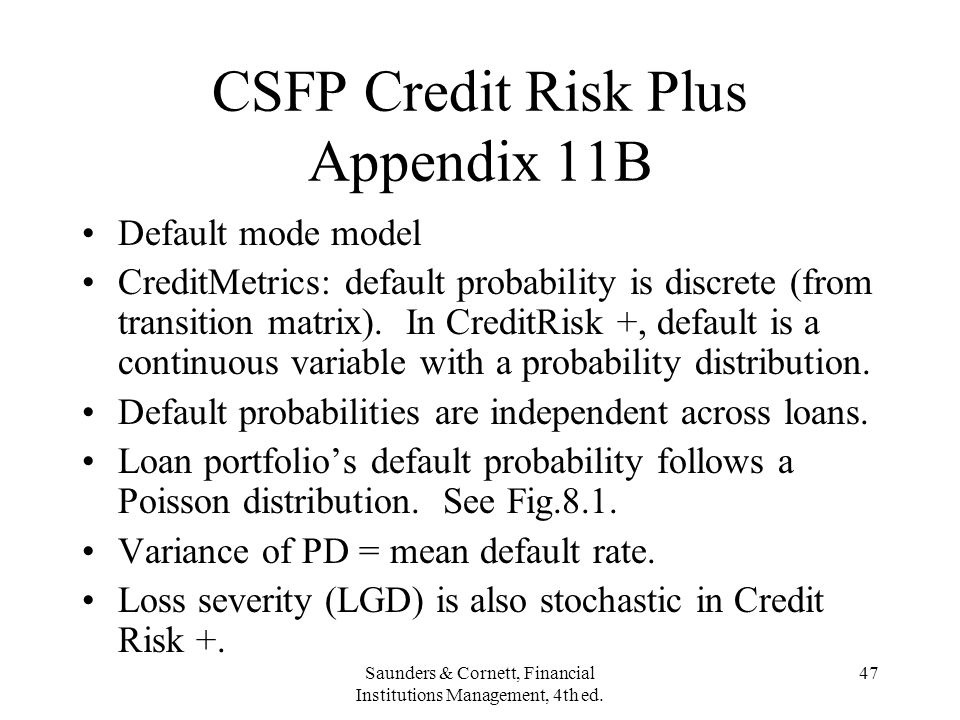 CSFP Credit Risk Plus Appendix 11B
