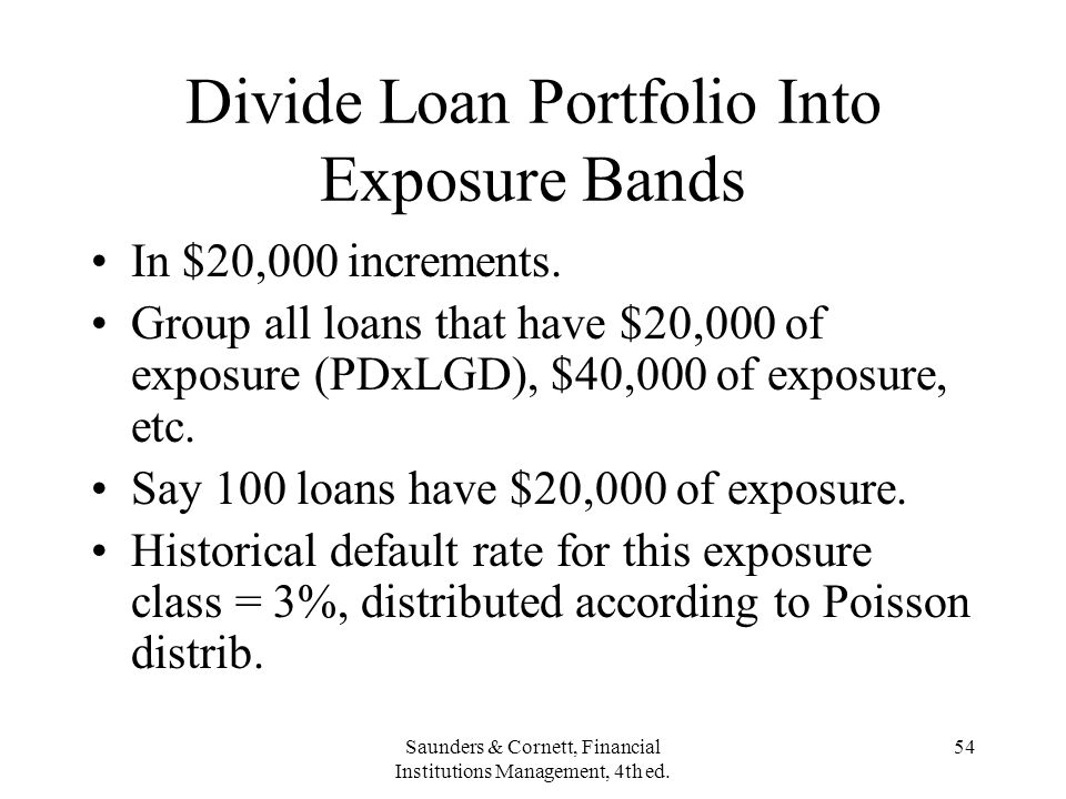 Divide Loan Portfolio Into Exposure Bands