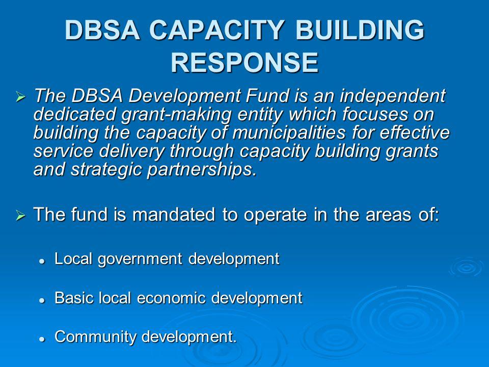 DBSA CAPACITY BUILDING RESPONSE