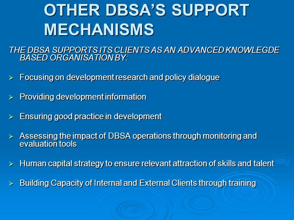 OTHER DBSA'S SUPPORT MECHANISMS