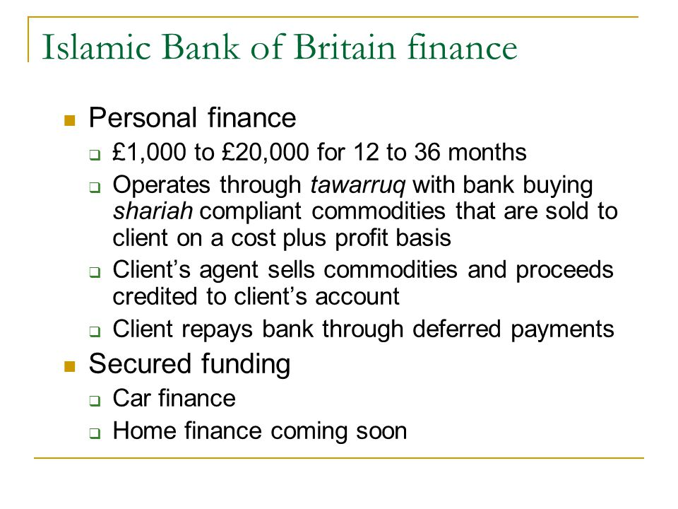 Islamic Bank of Britain finance