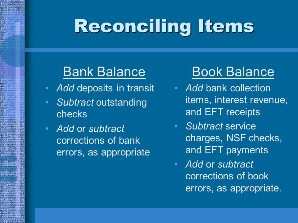 Reconciling Items Bank Balance Book Balance Add deposits in transit