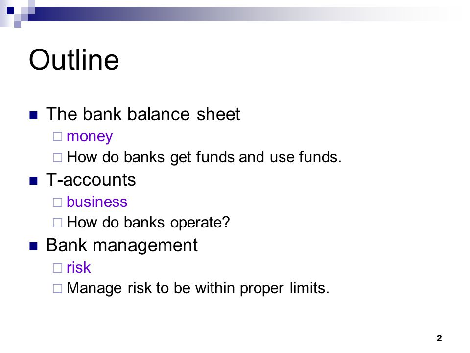 Outline The bank balance sheet T-accounts Bank management money